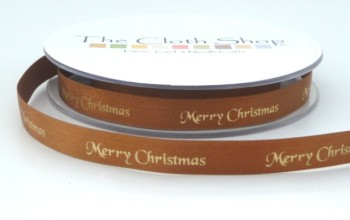 B12330-83 Gold Merry Christmas on Dark Gold Satin 10mm