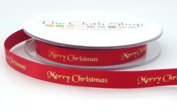 B12330-15 Gold Merry Christmas on Red Satin 10mm