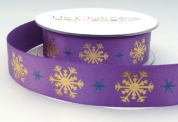 B13937-4 Gold Snowflakes on Purple Background 25mm