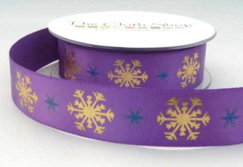 B13937-4 Gold Snowflakes on Purple Background