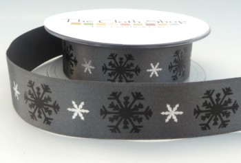 B13937-5 Black & Silver Snowflakes on Smokey Grey Background 25mm