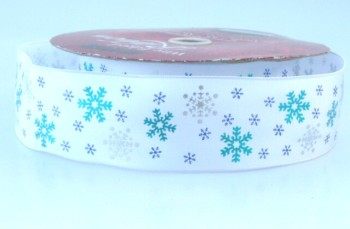 COS9B14 Wired Silver & Turquoise Snowflakes on White 38mm