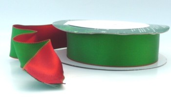 COS15A04 Wired Reversible Red & Green Satin Ribbon 38mm