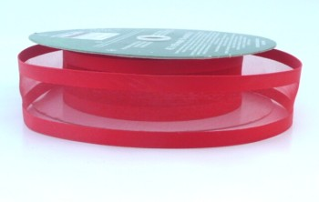 COS15A05 Wired Satin Edged Sheer Red Ribbon 38mm