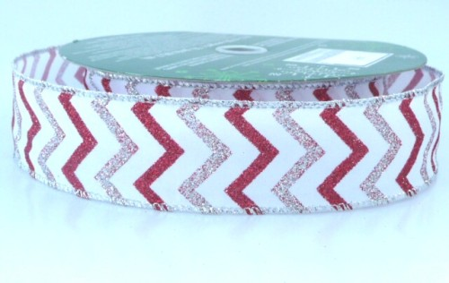COS15A13 Wired Chevron Silver & Red on White Ribbon