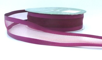 COS15B03 Wired Satin Edged Sheer Wine Red Ribbon 38mm