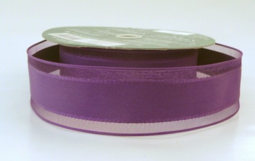 COS15B05 Wired Satin Centre Sheer Purple Ribbon