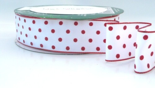 COS15B10 Wired Satin Red Spots Ribbon