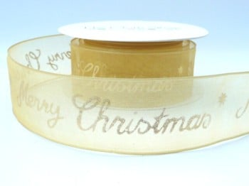 43893-10 Gold Sheer Merry Christmas wired ribbon 40mm
