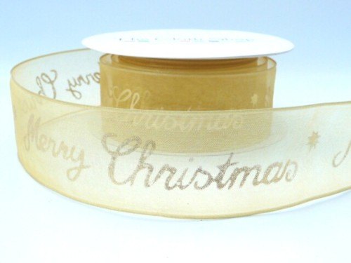 43893-10 Gold Sheer Merry Christmas wired ribbon