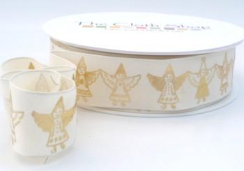 9409 - 25mm Gold Angels on Taffeta Wired ribbon
