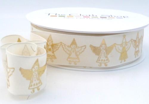 940915003032 - 25 Gold Angels on Taffeta Wired ribbon