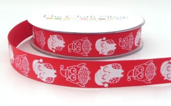 SRC-1415 R White Owls on red background
