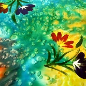 BAT-2 Batik Handpainted Flowers