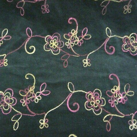 Embroidered Velvet Coating LX533