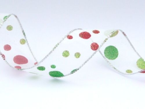 COS17A10 Wired Silver Sparkly Spotty Ribbon