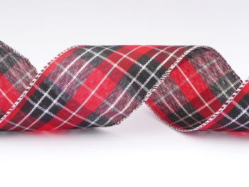 COS16B18 Wired Tartan Ribbon 63mm