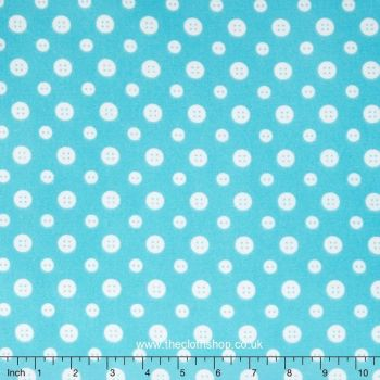 F6461-11 Flannel - Turquoise Buttons