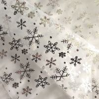 Silver snowflakes organza L1791-03