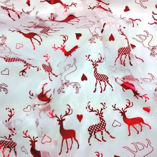 Red Reindeer organza L1789-02