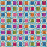 8669-11 Shop Hop - Cotton Reels on Turquoise