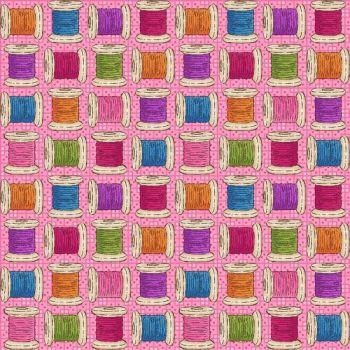 8669-25 Shop Hop - cotton reels on pink