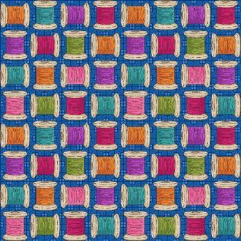 8669-79 Shop Hop - Cotton Reels on Blue