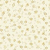 1937Q Metallic Snowflakes On Cream Cotton Christmas Quilting Fabric