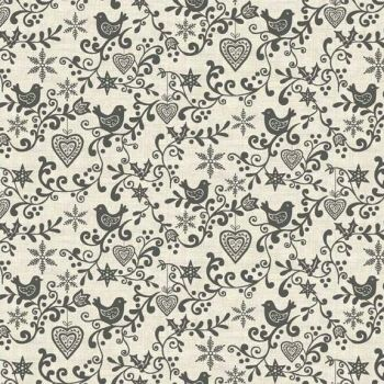 1965S Scandi Scroll - Grey Christmas Cotton Quilting Fabric