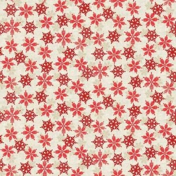 1968R Scandi Snowflakes On Red Christmas Cotton Quilting Fabric