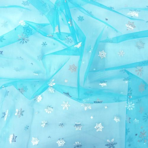 Turquoise Silver Snowflakes organza L2411-211
