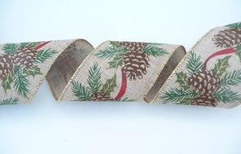 COS18B21 Wired Pine Cones on Natural Ribbon 63mm