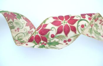 COS18B17 Poinsettas & Holly on Natural Background