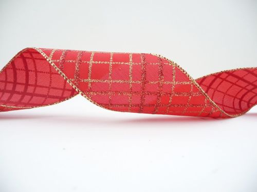 COS18B19 Wired Red and Gold Lattice Ribbon 63mm