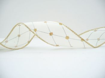 COS18A16 Wired Cream Gold Spot and Silver Lattice Ribbon 38mm