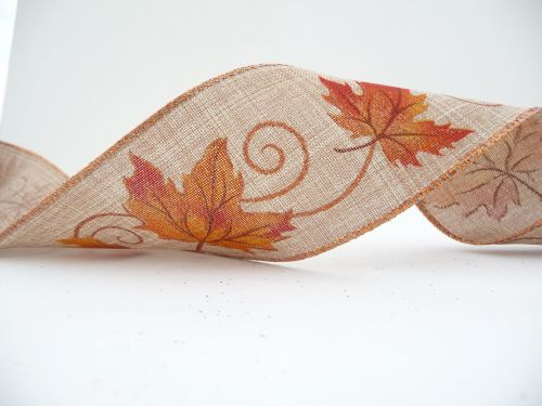 COS18A21 Wired Edge Autumn Leaves on Linen Ribbon 63mm