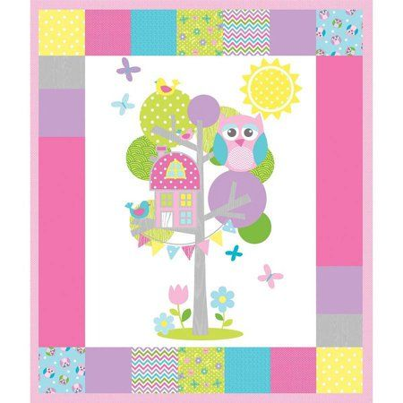 Childrens Fusible Applique Quilt Kit - Olani Owl L8002-2