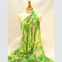 PT236 Satin - Green with cerise & white flowers