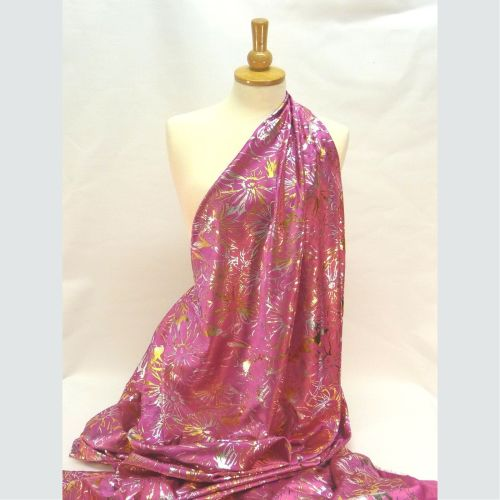 PT242 Satin crepe - Cerise with gold & silver