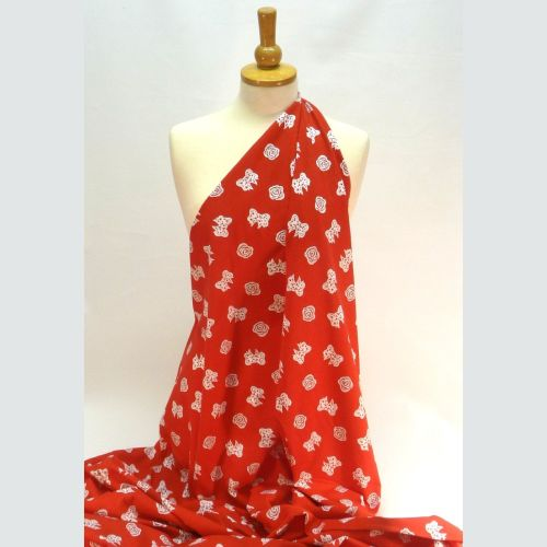 Printed Cotton Jersey Red with Bows - LX724