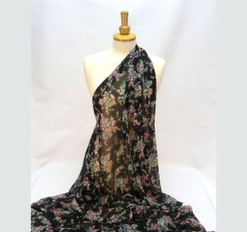 Floral on Black Georgette LA0012