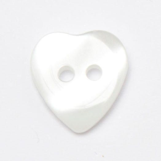 P1423-01-18 White 12mm Heart Buttons