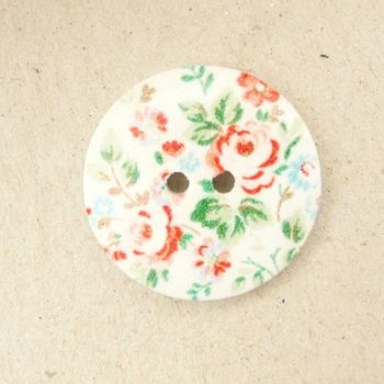 TCS10 Floral Printed 25mm Buttons x 10