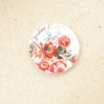 TCS090 Floral Printed 18mm Buttons x 10