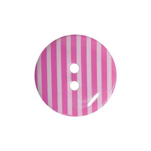 P1725-227-24L Striped Cerise Pink 15mm Buttons x 10