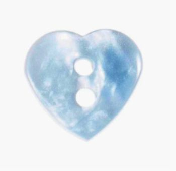 G4374-15-20L Pearl Blue Heart 13mm Buttons x 10