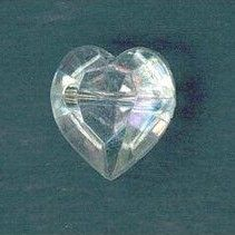 CG6-14L  Crystal Heart 10mm Buttons x 10