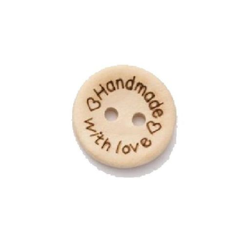L2717-30L Wooden Handmade With Love 25mm Buttons x 10