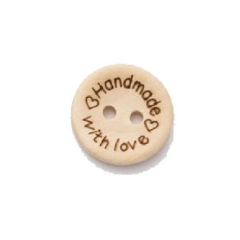 L2717-24L Wooden Handmade With Love 15mm Buttons x 10