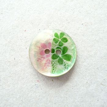 X758-Green-24L Handmade Painted Sea Shell 15mm Buttons x 10